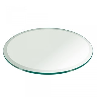 """3/8"""" Thick Round Glass Table Top 1"""" Beveled Polish Tempered"""