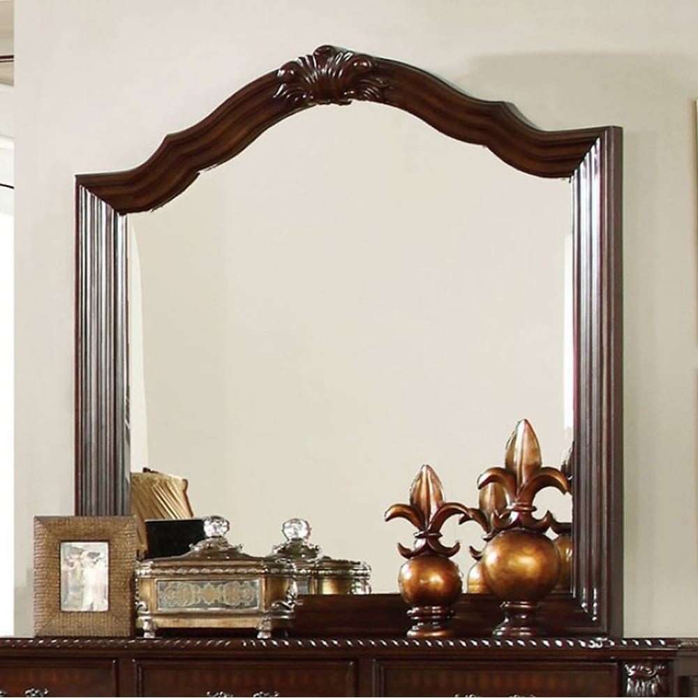 Edinburgh Traditional Style Mirror In Brown Cherry Finish - Brown/Cherry