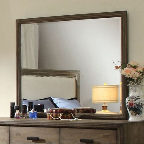 Antler Transitional Style Mirror In Natural Ash Finish - Grey