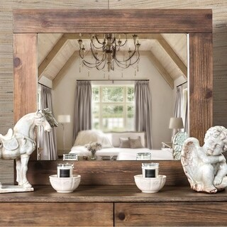 Janeiro Transitional Style Mirror In Rustic Natural Tone Finish - rustic natural tone