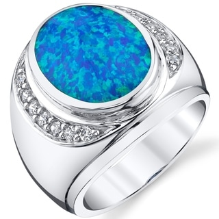 Oravo Men's Created Blue Opal Godfather Ring Sterling Silver