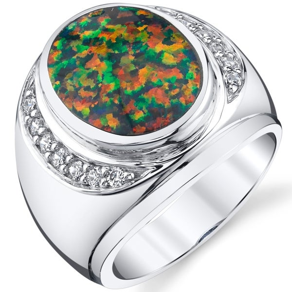 Oravo Men's Created Black Opal Godfather Ring Sterling Silver