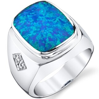 Oravo Men's Created Blue Opal Knight Ring Sterling Silver