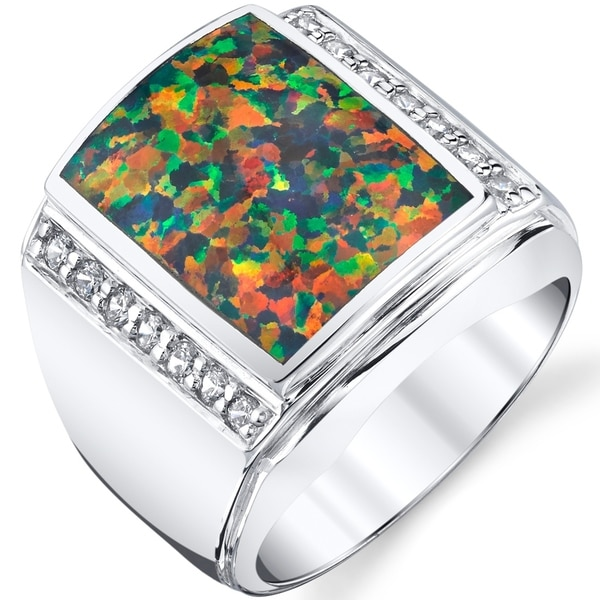 Oravo Mens Created Black Opal Aston Ring Sterling Silver Free