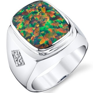 Oravo Men's Created Black Opal Knight Ring Sterling Silver