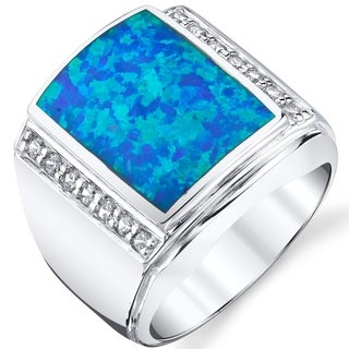 Oravo Men's Created Blue Opal Aston Ring Sterling Silver