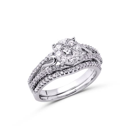 10K White Gold 3/4ct TDW Diamond Bridal Engagement Ring Set
