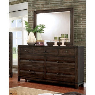 Furniture of America Cekel Rustic Contemporary 2-piece Walnut Dresser and Mirror Set