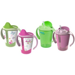 Born Free Grow with Me Pink 6-ounce Training Cup Straw Cup Set