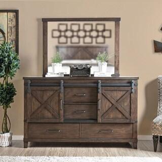Furniture of America Hilande Rustic Farmhouse 2-piece Dark Walnut Dresser and Mirror Set