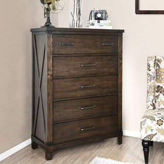 Furniture of America Hilande Rustic Dark Walnut 5-drawer Chest