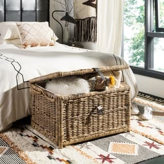 "happimess Caden 30"" Wicker Storage Trunk, Gray