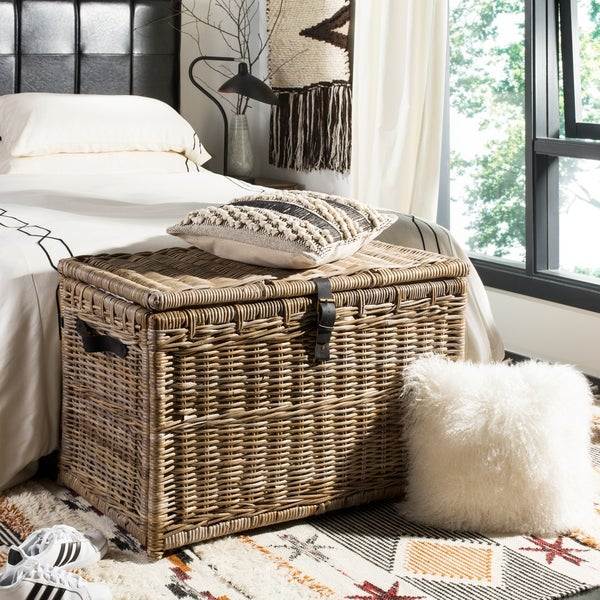 "happimess Michael 35"" Wicker Storage Trunk, Gray"