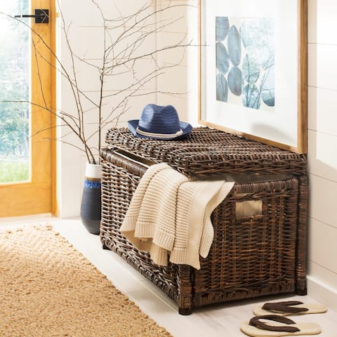 "happimess Elijah 30"" Wicker Storage Trunk, Brown"