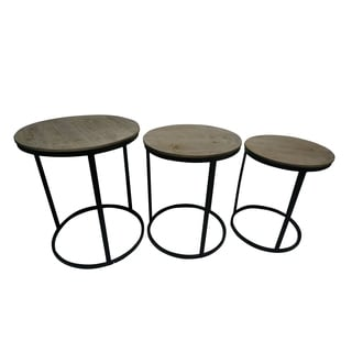 Wood Top End Table (Set of 3)