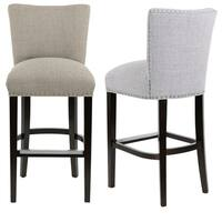 Sole Design Savannah Collection Modern Fabric JET Upholstered Counter Bar Stool With Nail Trim & Concave Back Design