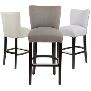 Sole Design Savannah Collection Modern Fabric SACHI Upholstered Counter Bar Stool With Nail Trim & Concave Back Design