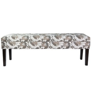 Sole Design Kaya Collection Modern 10 Button Fabric M9856 TRUFFLE FLORAL Upholstered Storage Bench, Multi-Colored