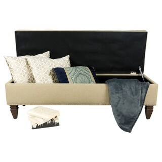 Sole Design Brooke Collection Modern Fabic Sawyer Latte Upholstered Bench With Button Tufting, Nail Trim & Storage, Gold