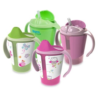 Born Free Grow With Me Pink/Green 6-ounce Training Straw and Sippy Cup (Pack of 4)