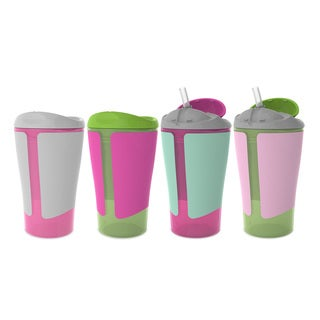 Born Free Grow with Me Pink 10-ounce Straw Cup Spoutless Cup Set