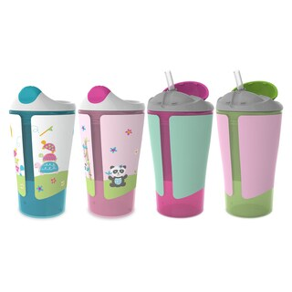 Born Free Grow with Me Pink 10-ounce Sippy Cup Straw Cup Set