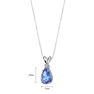 14k White Gold Tanzanite Diamond Tear Drop Pendant 2.25 Carats