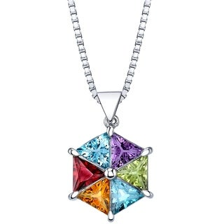 4.50 carats Multicolor Gemstone Geometric Pendant Necklace Sterling Silver