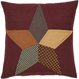 Red Primitive Bedding VHC Folkways Star Euro Sham Cotton Star Patchwork