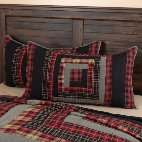 Red Rustic Bedding VHC Cumberland Sham Cotton Patchwork Chambray