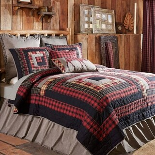 Red Rustic Bedding VHC Cumberland Quilt Cotton Patchwork Chambray