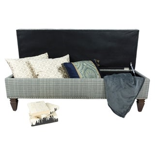 Sole Design Brooke Collection Modern Fabic Avenue Tuxedo Upholstered Bench With Button Tufting, Nail Trim & Storage, Grey Weave