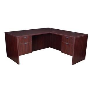 "Legacy 66"" Double Pedestal L-Desk with 47"" Return- Mahogany"