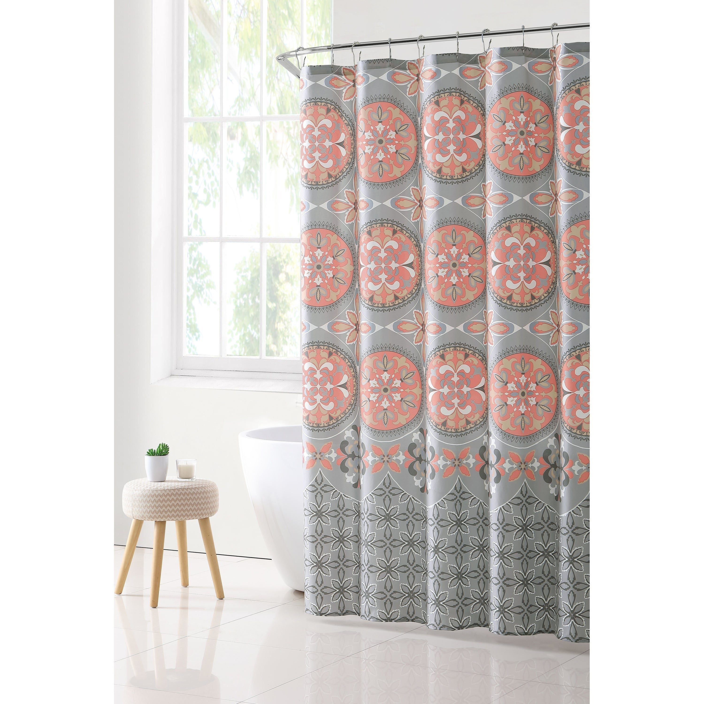 VCNY Home Medallion Boho Shower Curtain (Option: Grey/Coral)