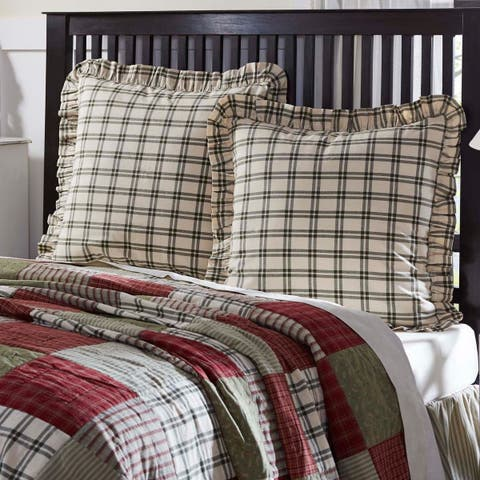 Green Farmhouse Bedding VHC Prairie Winds Euro Sham Cotton Windowpane