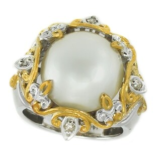 Michael Valitutti Palladium Silver Round White Mabe Cultured Pearl & Diamond Ring