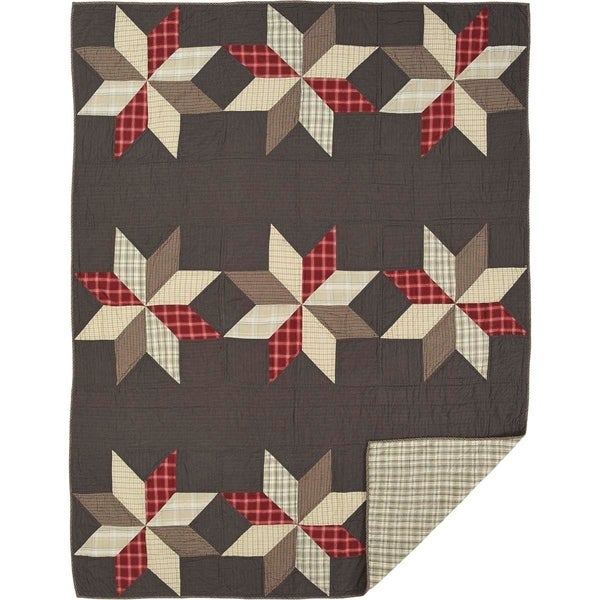 New Primitive Americana Red Navy LIBERTY STAR PATCHWORK QUILT 3 Pc SET Queen