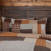 Grey Rustic Bedding VHC Rory Sham Cotton Patchwork Chambray