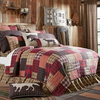 Red Rustic Bedding VHC Wyatt Quilt Cotton Patchwork Chambray