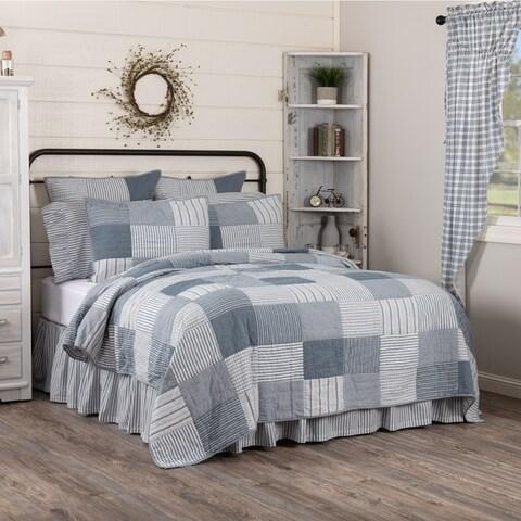 Farmhouse Bedding Miller Farm Quilt Cotton Patchwork Chambray