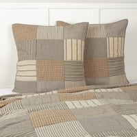 Farmhouse Bedding VHC Sawyer Mill Euro Sham Cotton Patchwork Chambray