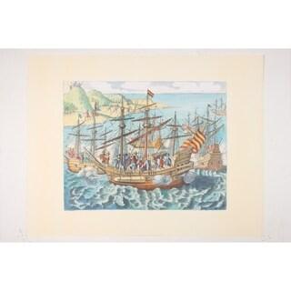 Americae II Theodore premium Art Print of Sailboat Art by De Bry
