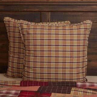Tan Rustic Bedding VHC Wyatt Euro Sham Cotton Plaid