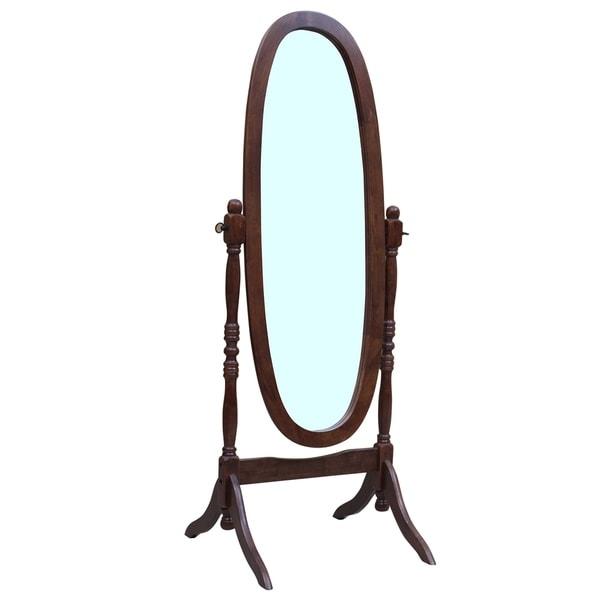 Solid Wood Standing Floor Mirror, Espresso