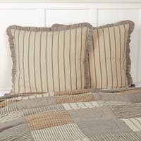 White Farmhouse Bedding VHC Sawyer Mill Euro Sham Cotton Striped