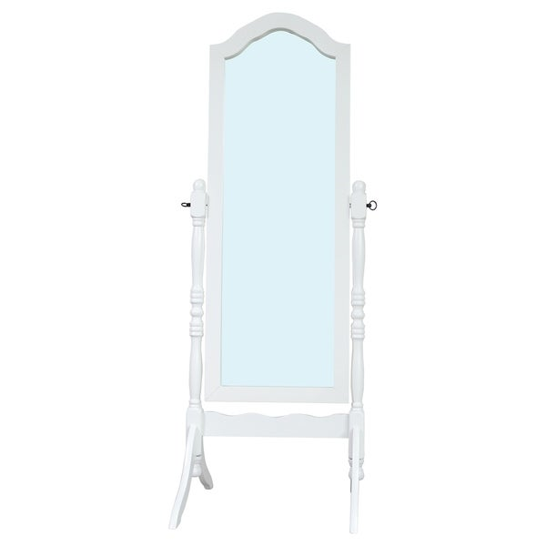 Shop Solid Wood Standing Floor Mirror White Antique