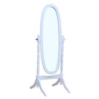 Solid Wood Standing Floor Mirror, White