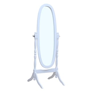Solid Wood Standing Floor Mirror, White - Antique Silver - A/N