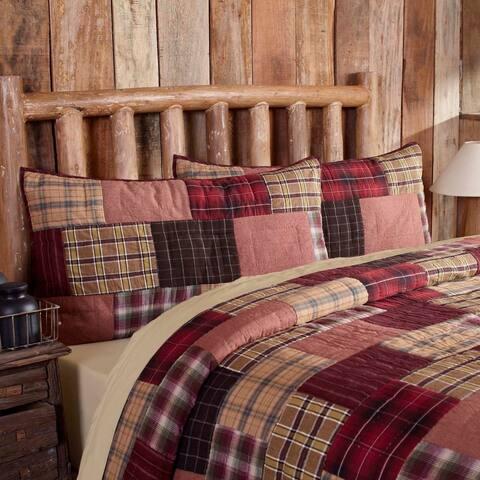 Red Rustic Bedding VHC Wyatt Sham Cotton Patchwork Chambray