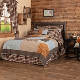 Grey Rustic Bedding VHC Rory Quilt Cotton Patchwork Chambray
